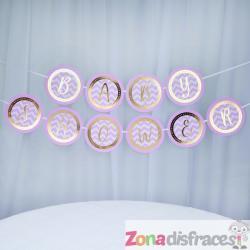 """Banderín rosa """"Baby shower"""" - Pattern Works Pink - Imagen 1"""