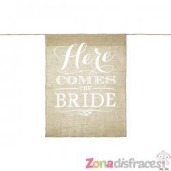 """Banderín para pajes """"Here comes the bride"""" de rafia - Imagen 1"""