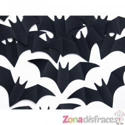 Confeti con forma de murciélago negro de papel para mesa - Halloween - Imagen 1