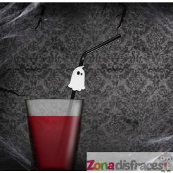 6 pajitas negras con figuritas de fantasmas - Halloween - Imagen 1