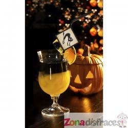 6 pajitas negras con figuritas Boo - Halloween - Imagen 1