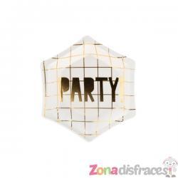 """6 platos pentagonales blanco y dorados """"Party"""" de papel para nochevieja (12,5 cm) - Happy New Year Collection - Imagen 1"""
