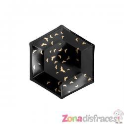 6 platos negros con murciélagos dorados de papel (20 cm) - Trick or Treat Collection - Imagen 1