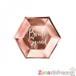 "6 platos oro rosa ""Bride Squad"" de papel (23 cm) - Rose Gold Bride To Be - Imagen 1"