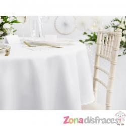 Mantel redondo blanco de tela de 230 cm - Imagen 1