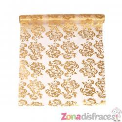 Camino de mesa blanco con estampado reversible dorado o plateado de organza - Imagen 1