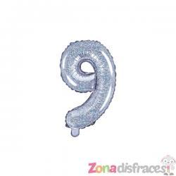 "Globo foil ""9"" plateado con purpurina (35 cm) - Imagen 1"