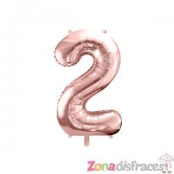 """Globo foil """"2"""" oro rosa (86 cm) - Imagen 1"""
