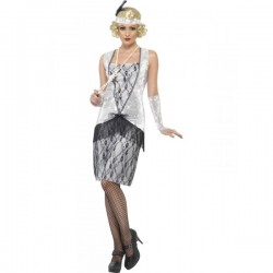 Disfraz de joven a la moda de los años 20 plateado - Imagen 1
