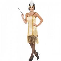 Disfraz de joven charlestón a la moda de los años 20 dorado - Imagen 1