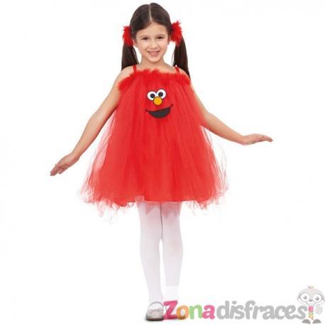 Disfraz de Elmo Barrio Sésamo para niña - Imagen 1