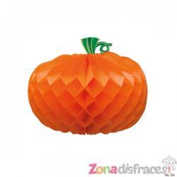 Calabaza naranja de nido de abeja (27cm) Halloween - Imagen 1