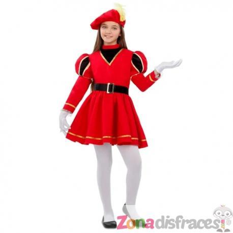 Disfraz de paje real rojo para niña - Imagen 1