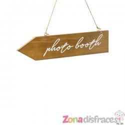 "Cartel de señalización de madera ""Photo booth"" - Imagen 1"
