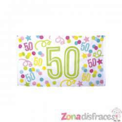 Bandera 50 cumpleaños con lunares y estrellas - Imagen 1