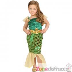 Disfraz de sirena para niña verde y dorado - Imagen 1