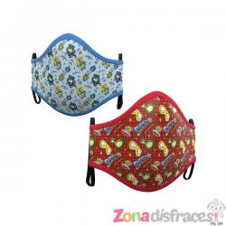 Mascarilla de Super Zings infantil azul y roja (2 unidades) - Imagen 1