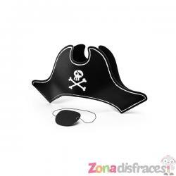 Sombrero pirata con parche de papel para niño - Imagen 1