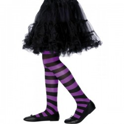 Pantys morados y negros a rayas infantil - Imagen 1