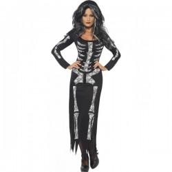 Disfraz de esqueleto negro para mujer - Imagen 1