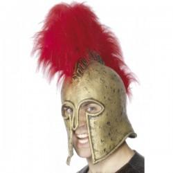 Casco de legión romana dorado y rojo - Imagen 1