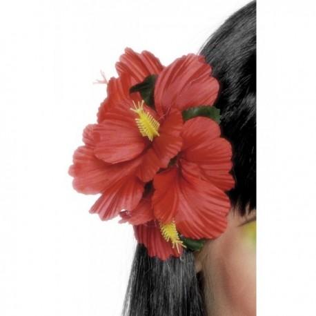 Gancho de pelo con flor hawaiana rojo - Imagen 1