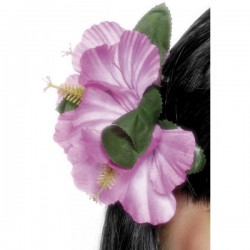 Gancho de pelo con flor hawaiana rosa - Imagen 1