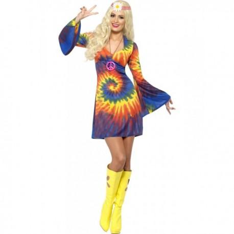 Disfraz de hippie sesentera con vestido - Imagen 1