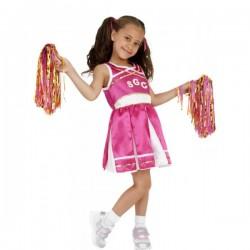 Disfraz de animadora rosa para niña - Imagen 1