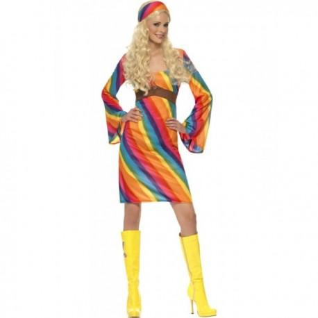 Disfraz de hippie arco iris para mujer - Imagen 1