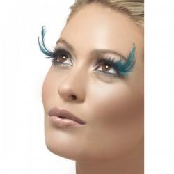 Pestañas con plumas color turquesa - Imagen 1