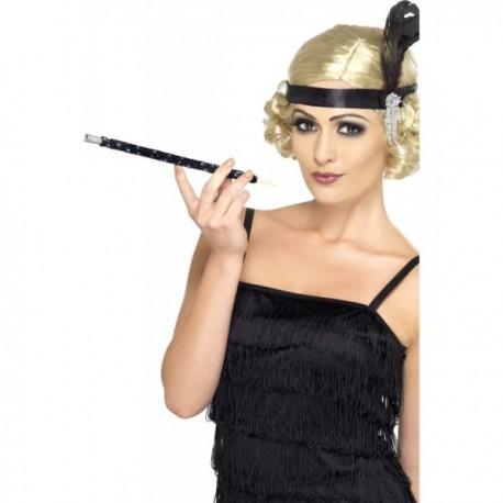 Boquilla negra con lentejuelas estilo años 20 - Imagen 1